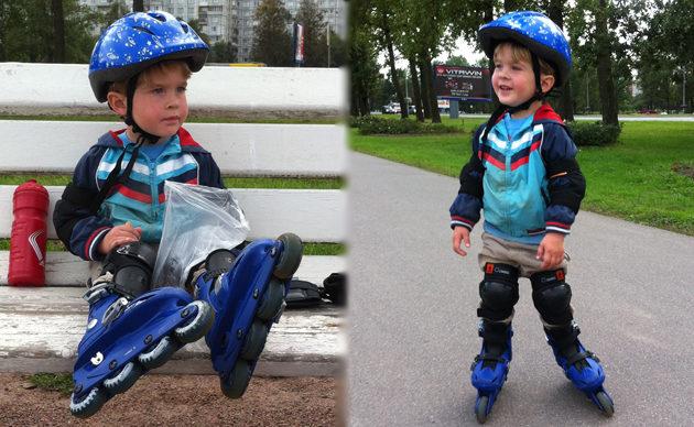 Научить 3-х летнего ребенка кататься на роликах оказалось совсем несложно