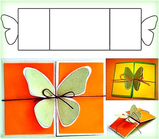 Шаблон раскладной открытки бабочки